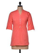 Coral Mandarin Collar Cotton Top - Meee!