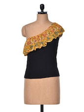 Black One Shoulder Top With Printed Frill - Meee!