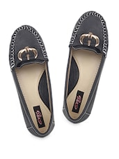 Black Loafers With Metal Buckle - Elly