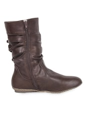 High Ankle Leatherette Brown Boots With Zipper - Elly