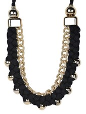Stylish Hand Woven Black Designer Golden Necklace - Moed Buille