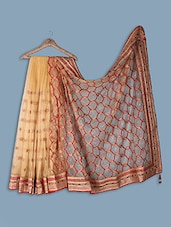 Net Saree With Dupion Blouse - Ethnictrend
