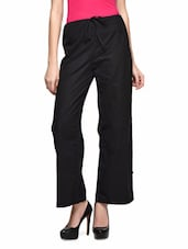 Black Cotton Plain Drawstring Trouser - The Shop