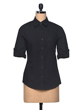 Black  Shoulder Epaulette Linen Shirt - The Shop