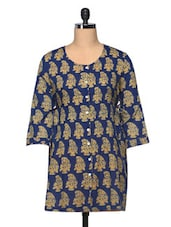 Navy Blue Block Printed Paisley Cotton Top - The Shop