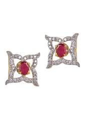 Ruby & American Diamond Studded Earrings - Savi