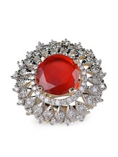 Red Stone & American Diamond Studded Round Ring - Savi