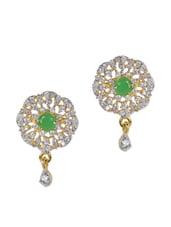 Green Stone & American Diamond Studded Earring - Savi