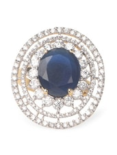 Blue Stone & American Diamond Studded Round Ring - Savi