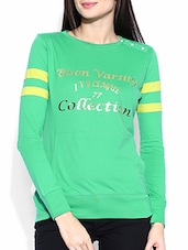 Green Colored Printed Cotton Top - By