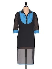 Black Sheer Color Block Kurta - Ayaany
