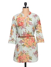 Floral Printed Shirt With Three Quarter Sleeve & Belt - Ayaany