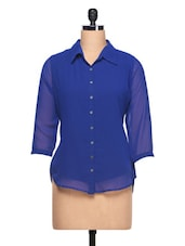 Plain Blue With Three Quarter Sleeve Shirt - Ayaany
