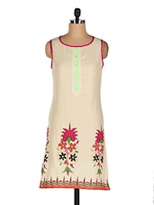 Printed Sleeveless Round Neck Cotton Kurti - Goodkarma