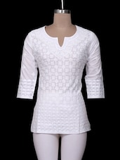 White Cotton Chikankari Short Kurta - Ada