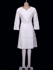 Sublime White Cotton Chikankari Kurta - Ada - 998920