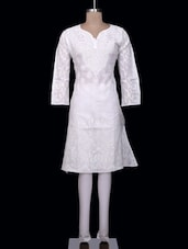 Sublime White Cotton Chikankari Kurta - Ada