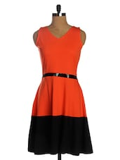 Orange & Black Color Block A-Line Dress - Miss Chase