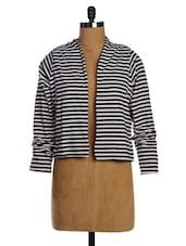 Black & White Striped Single Jersey Shrug - Miss Chase