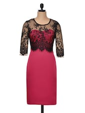 Red Bodycon Dress With Lace Overlay - Ruby