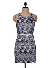 Black Polyknit Printed Dress - Ruby