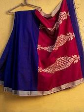 Royal Blue Cotton Silk Saree - Cotton Koleksi