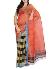 Multicolored Net Printed Saree With Blouse - By