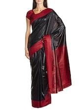 Black Plain Mysore Art Silk Saree - By