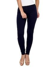 Navy Blue Cotton, Lycra Legging - By