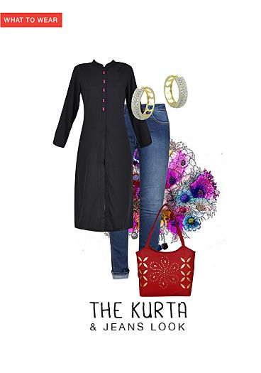 27b8ced8 The Kurta & Jeans Look - Buy Mid Rise Multi Color Jeans, Black Kurtas with  Crystal Gold Earrings Scrapbook Look by archana batchu