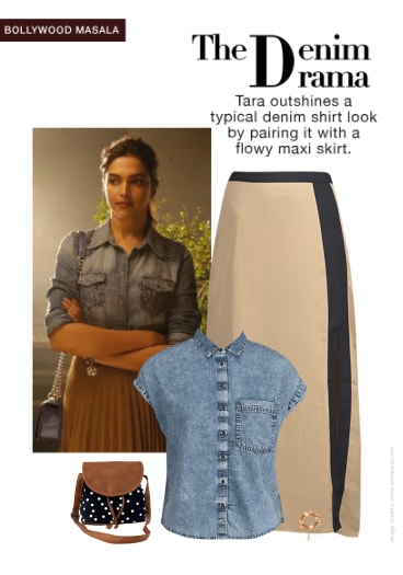 0f3b39cd20 Tamasha Look:Denim Shirt With Maxi Skirt - Buy Blue Shirts, Black Sling  Bags, Beige Skirts with Gold Bracelets Scrapbook Look by Sona