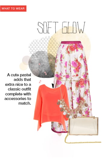 29e5d2d2cb Soft Glow - Buy Gold Sling Bags, Orange Tops, White Skirts with Pink  Necklaces Scrapbook Look by Aliza