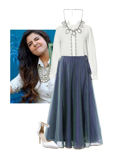 74710762d9 Alizeh's mehendi sees her pair a classic white shirt with a statement  embellished necklace and a long indie skirt. Love!