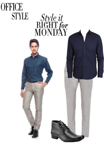 Buy Grey Casual Trousers Blue Casual Shirts With Black Formal Shoes