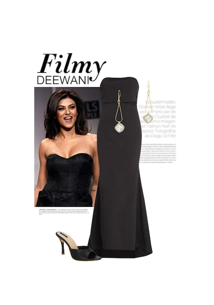 Filmy Deewani Buy Gold Earrings Black Sandals With Solids Black
