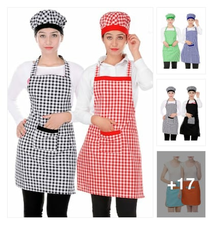 Kitchen apron with cap. Online shopping look by vinod