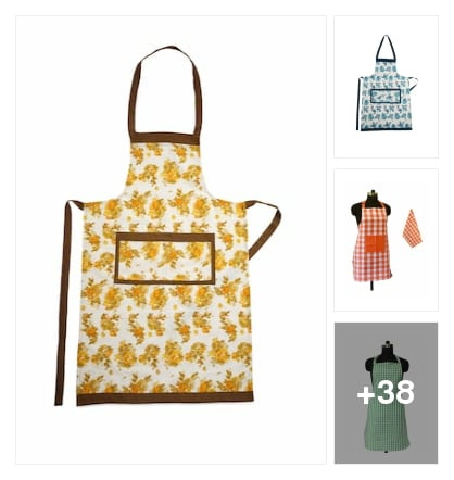 Cotton stain kitchin apron . Online shopping look by chinna