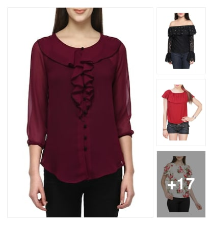 Ruffle tops for women. Online shopping look by sudhakar