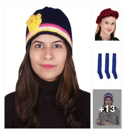 Winter stylish ladies cap. Online shopping look by chinni