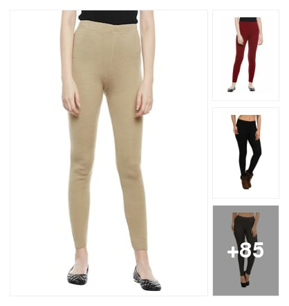 Woolen plain leggings. Online shopping look by meenu