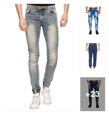 Cool denim joggers. Online shopping look by goutam