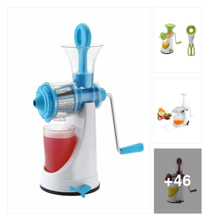 Fruit jucer with vacuum bace. Online shopping look by chinni