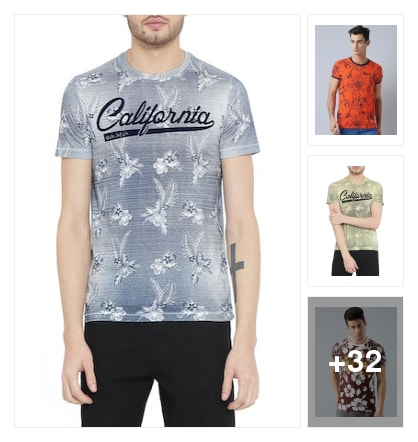 men's floral T-shirts. Online shopping look by B