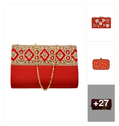 Party red Clutches...... Online shopping look by Lucky