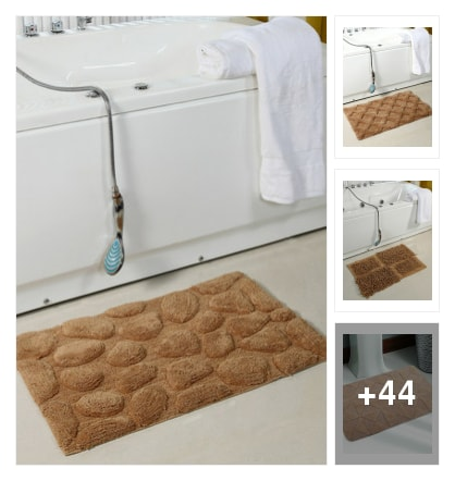 Bath mats must have in bathrooms . Online shopping look by Geeta