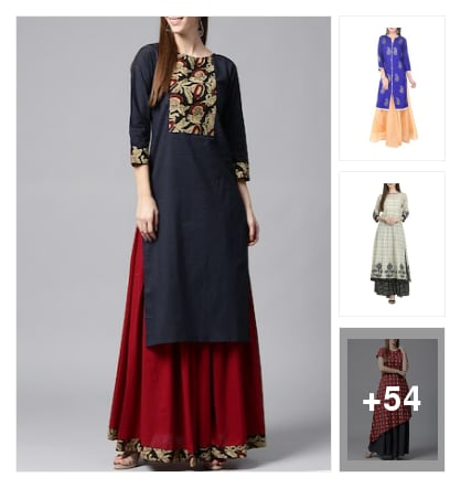 Skirt and kurta set. Online shopping look by Reena