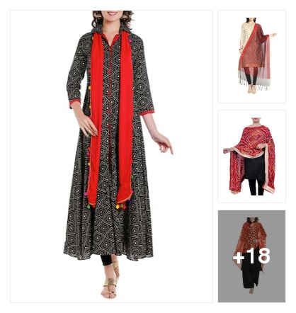 Trend alert :- red dupatta. Online shopping look by Kinki