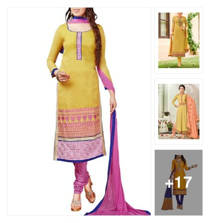 Semi stitched suit. Online shopping look by kavita