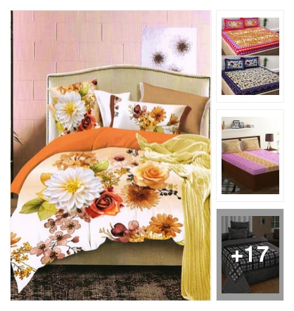 colorful bed sheets. Online shopping look by viadya