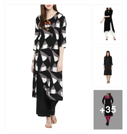 Modern look monochrome kurthas. Online shopping look by thanmayee